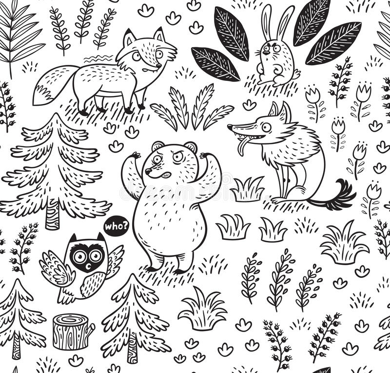 Hand drawn seamless pattern with animals in outline stock illustration