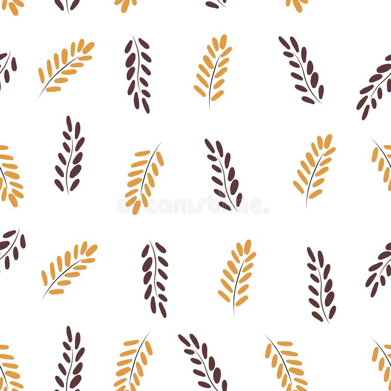 Hand drawn seamless pattern with  autumn colorful leaves, autumn mood, harvest royalty free illustration