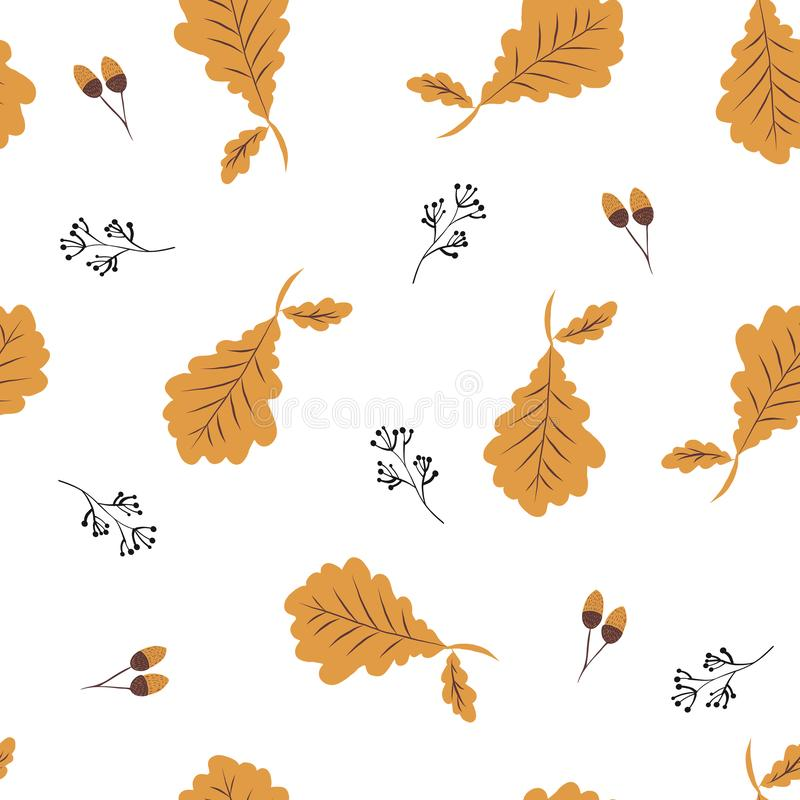 Hand drawn seamless pattern with  autumn colorful leaves, autumn mood vector illustration