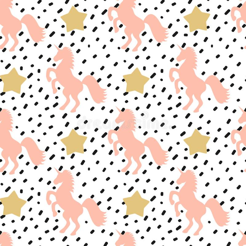 Hand drawn seamless vector pattern background illustration with black confetti and pink unicorn and gold stars royalty free illustration