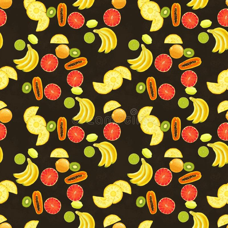 Hand drawn seamless pattern with bananas, lime, lemon, pineapple slice papaya and grapefruit. Summer background with exotic fruits. Top view. Wallpaper or vector illustration