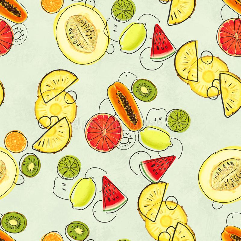 Hand drawn seamless pattern with bananas, lime, lemon, pineapple slice papaya and grapefruit. Summer background with exotic fruits. Top view. Wallpaper or royalty free illustration