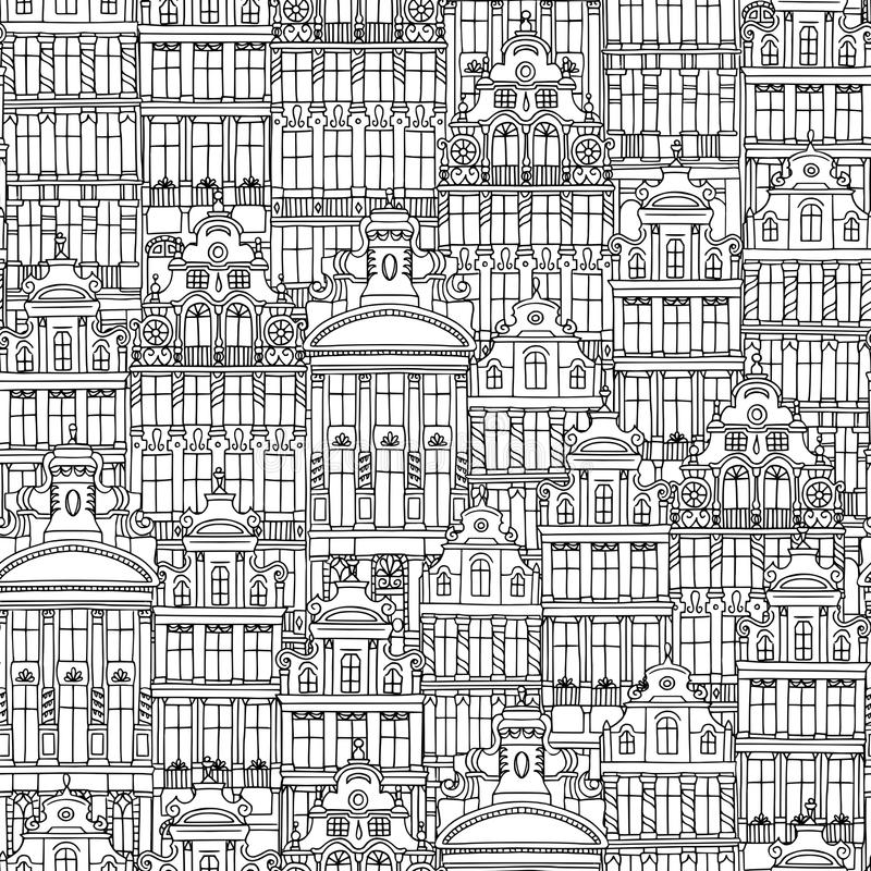 Download Hand Drawn Seamless Pattern Of Belgian Houses Stock Vector - Illustration of belgian, houses: 115695251