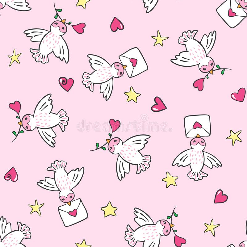 Download Hand Drawn Seamless Pattern With Birds And Hearts. Stock Vector - Illustration of cartoon, endless: 108514308