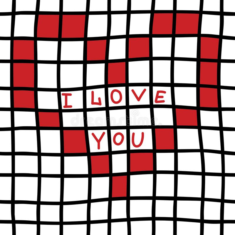 Hand drawn Seamless pattern with black grid, red heart and I love you text. Trendy checkered seamless pattern vector illustration