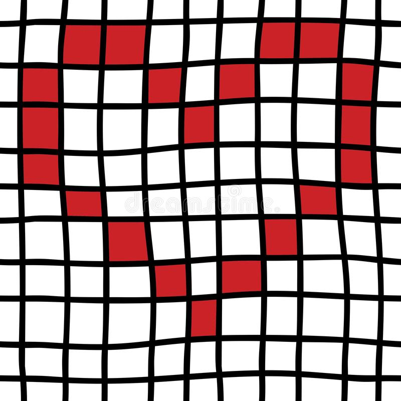Hand drawn Seamless pattern with black grid, red heart. Trendy checkered seamless pattern royalty free illustration