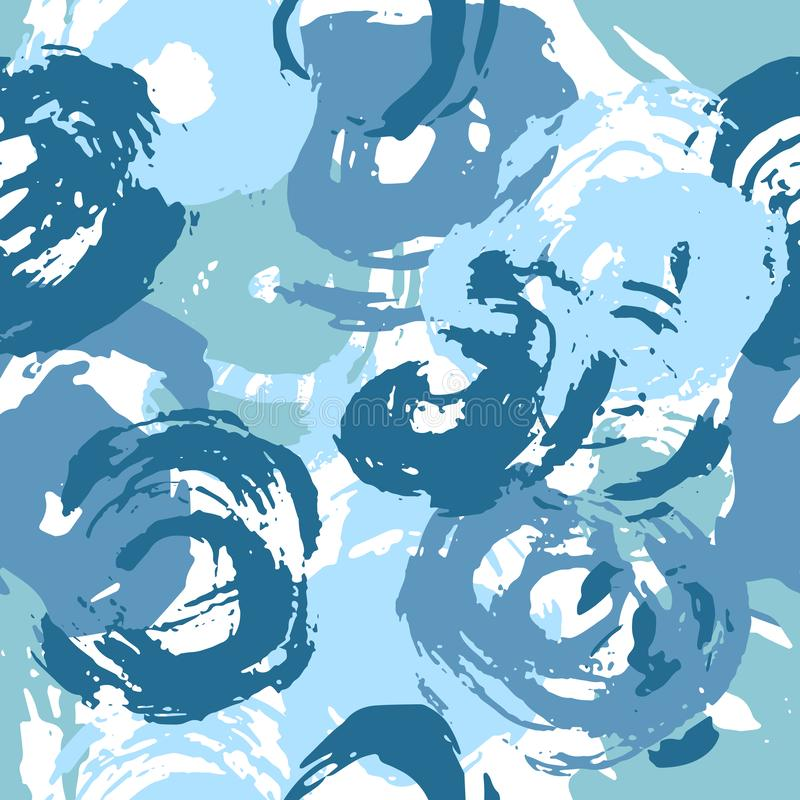 Seamless Paint Strokes Pattern Blue Circles royalty free stock images