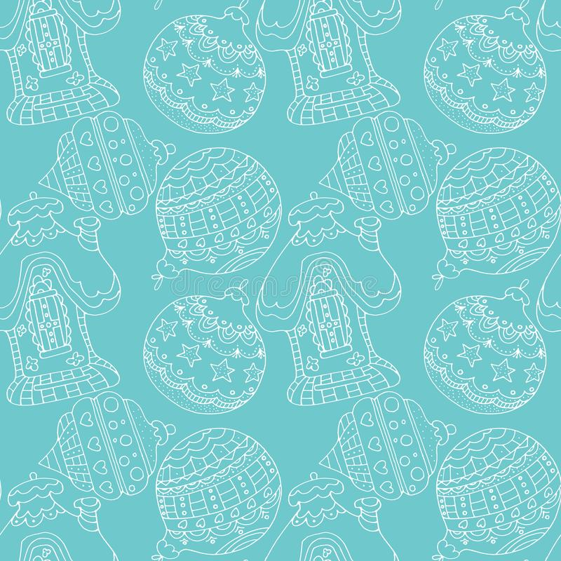 Hand drawn seamless pattern Christmas balls and house on blue background. Flat illustration for card, flyer, wrapping, wallpaper, textile stock photos