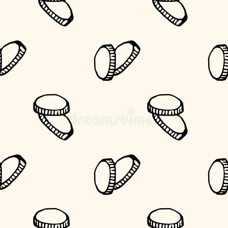 Hand Drawn seamless pattern coins doodle. Sketch style icon. Decoration element. Isolated on white background. Flat design. Vector stock illustration