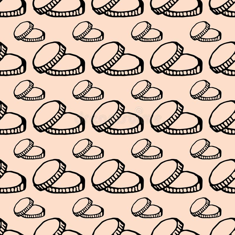 Hand Drawn seamless pattern coins doodle. Sketch style icon. Decoration element. Isolated on white background. Flat design. Vector royalty free illustration