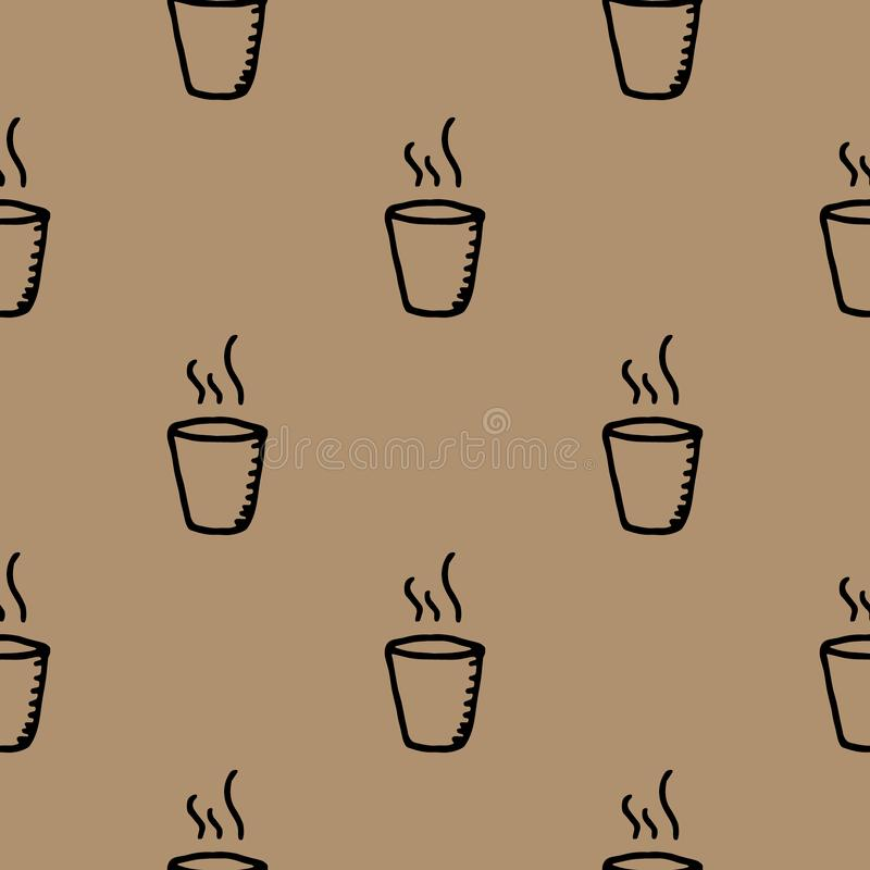 Hand Drawn seamless pattern cup doodle. Sketch style icon. Decoration element. Isolated on white background. Flat design. Vector vector illustration