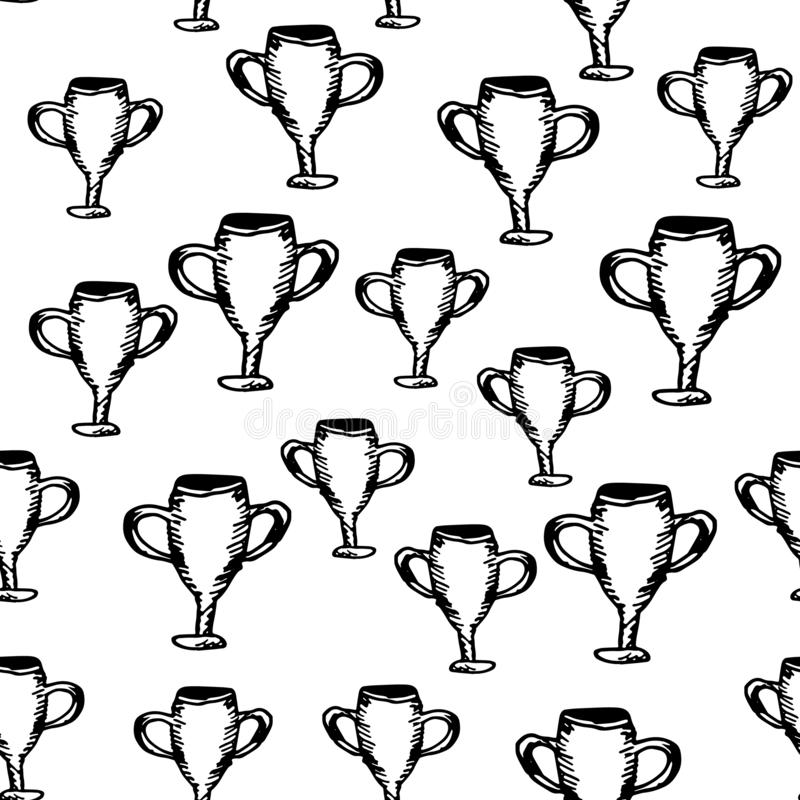 Hand Drawn seamless pattern cup doodle. Sketch style icon. Decoration element. Isolated on white background. Flat design. Vector. Illustration, achievement vector illustration
