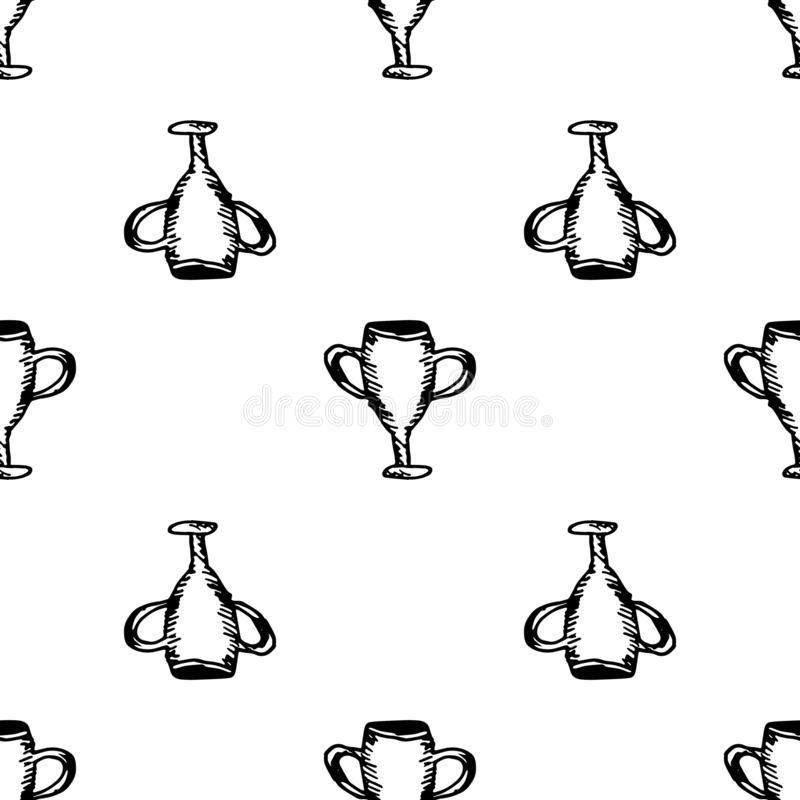 Hand Drawn seamless pattern cup doodle. Sketch style icon. Decoration element. Isolated on white background. Flat design. Vector. Illustration, achievement royalty free illustration