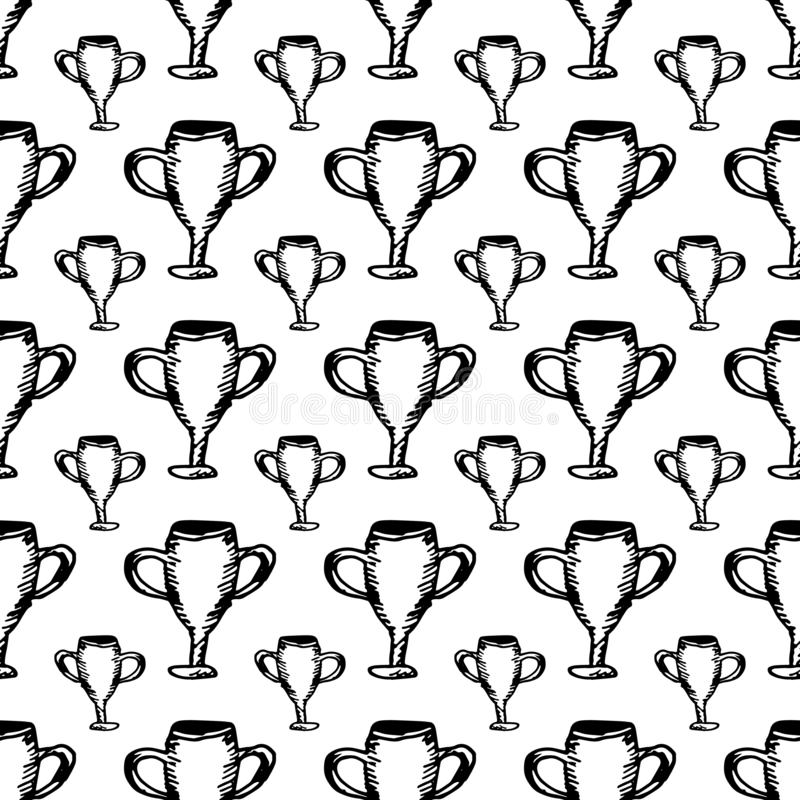 Hand Drawn seamless pattern cup doodle. Sketch style icon. Decoration element. Isolated on white background. Flat design. Vector. Illustration, achievement stock illustration