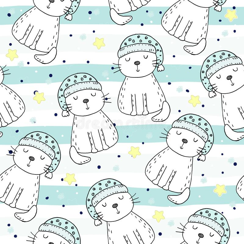 Hand drawn seamless pattern with cute cat, doodle illustration for kids vector print stock illustration