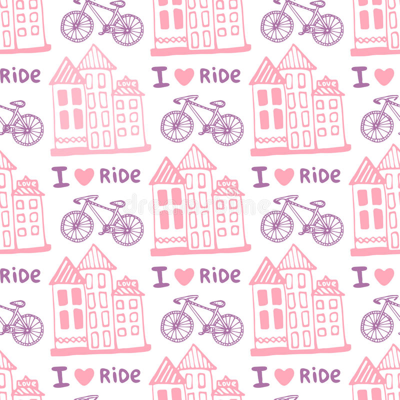 Hand drawn seamless pattern with cute houses and bicycle in pink colors. Illustration background in vector. Used for wallpaper stock illustration