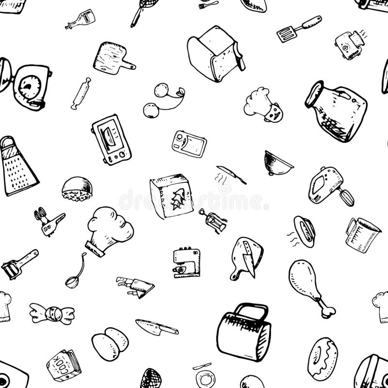 Hand drawn seamless pattern with decorative cooking icons. Vector sketch background with kitchen utensils, vegetables, cooking hob royalty free illustration