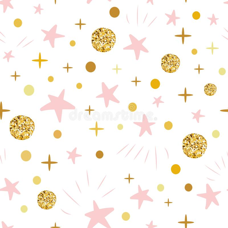 Hand drawn seamless pattern decoreted gold balls pink stars for Christmas backgound or baby shower. Winter Christmas hand drawn seamless pattern decorated golden stock illustration
