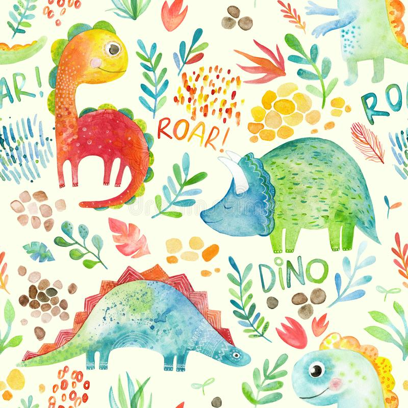 Hand drawn seamless pattern with dinosaurs and floral elements. Cute watercolor illustration design. Perfect for kids fabric, textile royalty free illustration