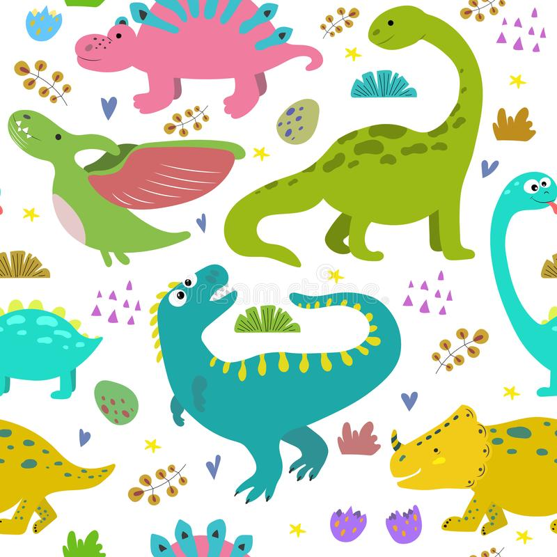 Hand drawn seamless pattern with dinosaurs. royalty free illustration