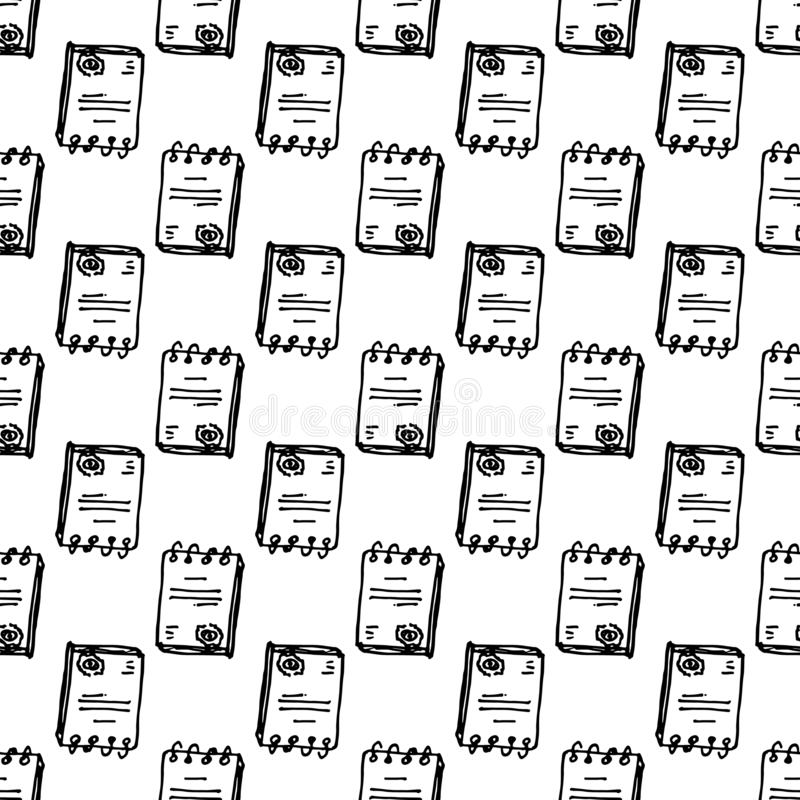Hand Drawn seamless pattern document doodle. Sketch style icon. Decoration element. Isolated on white background. Flat design. royalty free illustration
