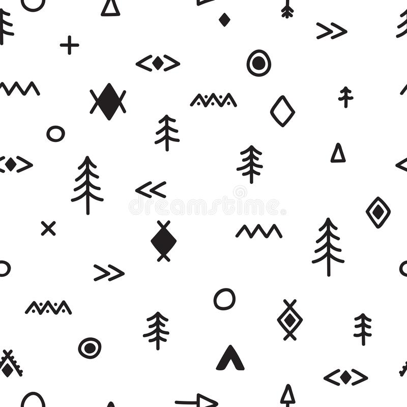 Hand drawn seamless pattern with doodle elements. Abstract tribal background. Abstract ethnic geometric art print. Stylish trendy royalty free illustration
