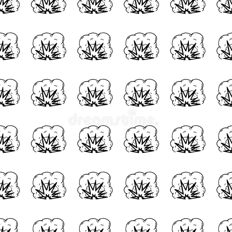 Hand Drawn seamless pattern explosion doodle. Sketch style icon. Military decoration element. Isolated on white background. Flat. Design. Vector illustration vector illustration