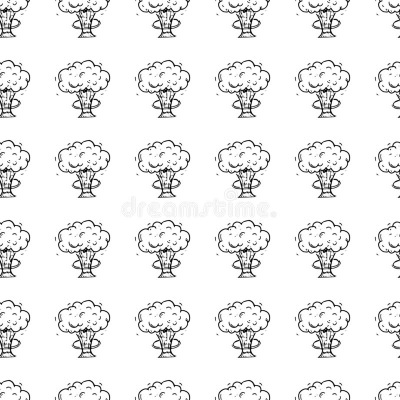Hand Drawn seamless pattern explosion doodle. Sketch style icon. Military decoration element. Isolated on white background. Flat. Design. Vector illustration royalty free illustration