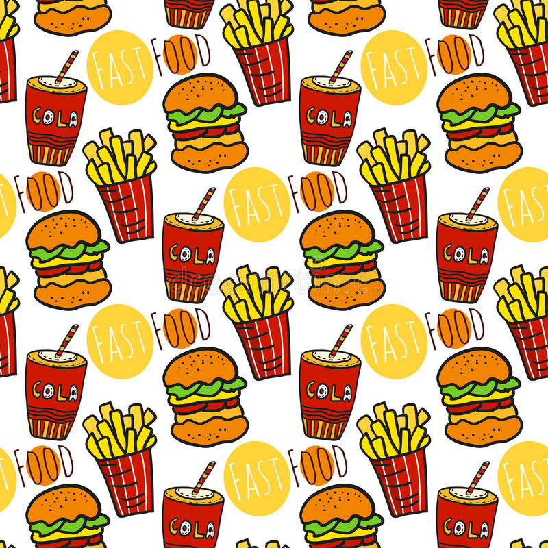 Hand drawn seamless pattern with fast food. Doodle street food. Fries potato, cola and burgers background. stock illustration