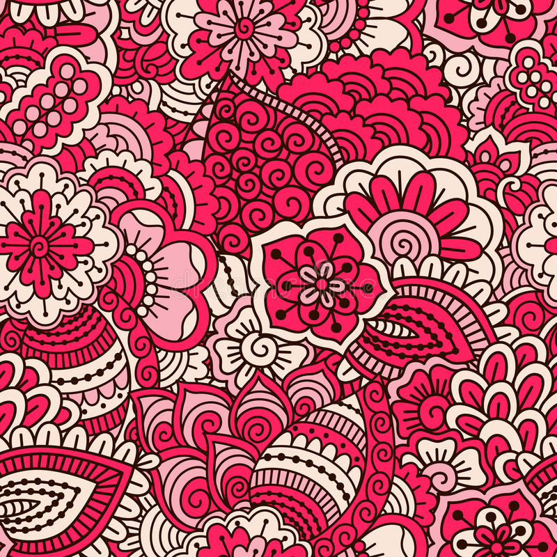 Hand drawn seamless pattern with floral elements. stock illustration