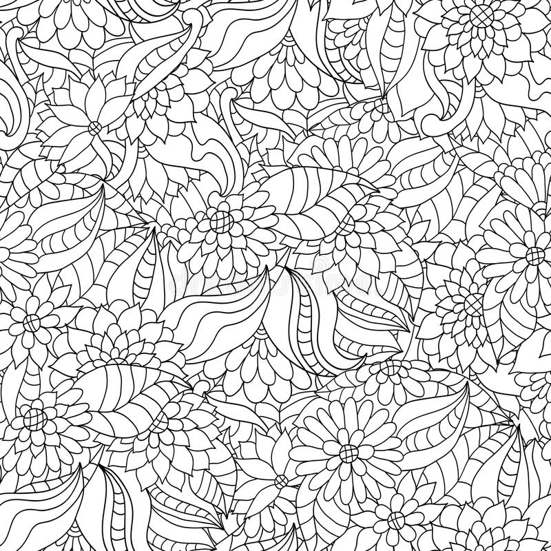 Hand drawn seamless pattern with flowers and leaves for adult anti stress colouring book. Coloring page with high details. Ornamental floral wallpaper royalty free illustration