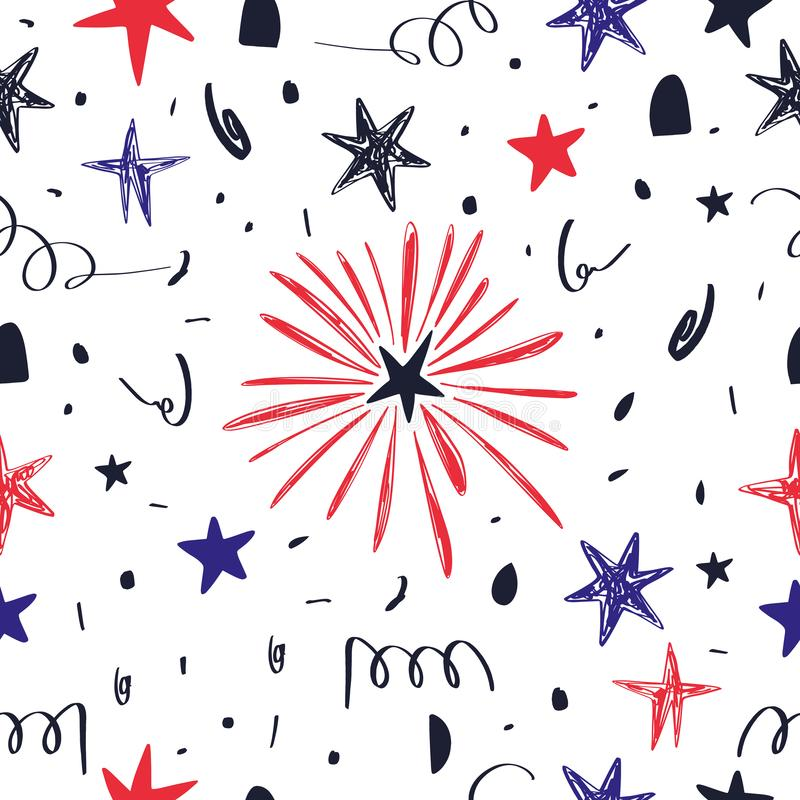 Hand drawn seamless pattern with Fourth of July doodles. Fourth of July holiday. Independence Day. Vector stock illustration