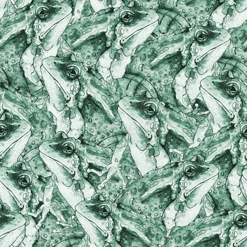 Hand drawn seamless pattern with frogs stock photos