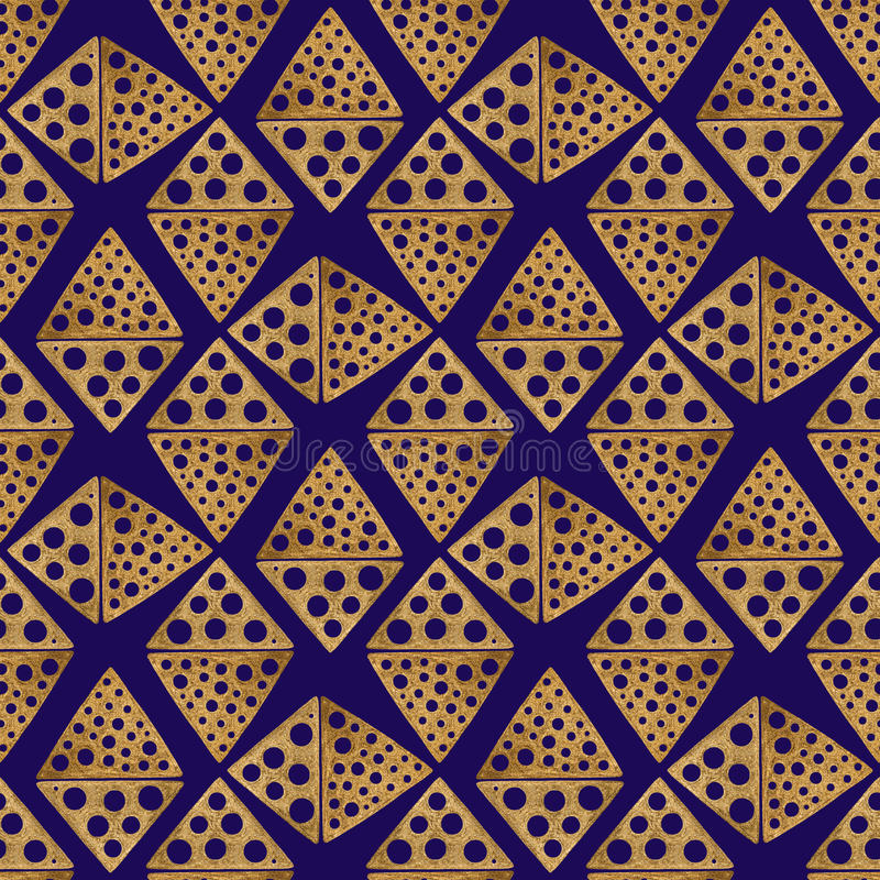 Hand drawn seamless pattern. Gold ethnic ornament, abstract geometric background. Golden rhombus illustration. royalty free illustration