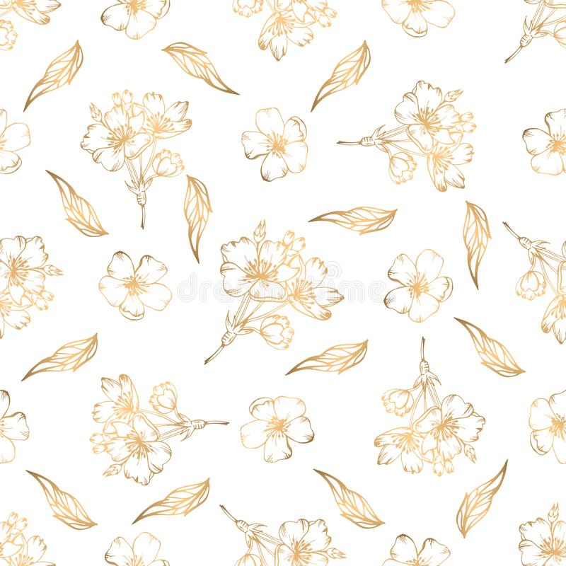 Hand drawn seamless pattern with golden floral elements royalty free stock photos