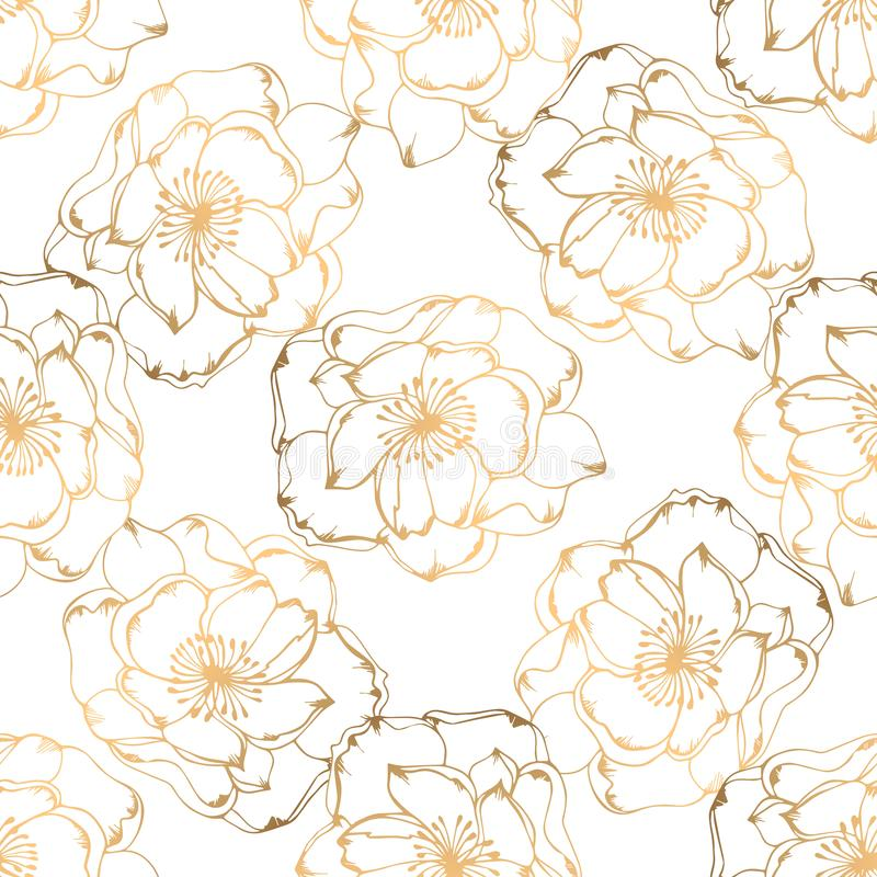 Hand drawn seamless pattern with golden floral elements stock image