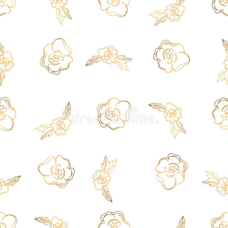 Hand drawn seamless pattern with golden floral elements royalty free stock images