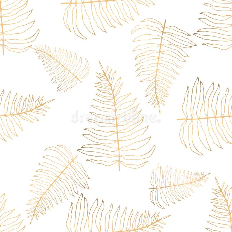 Hand drawn seamless pattern with golden leaves royalty free stock photography