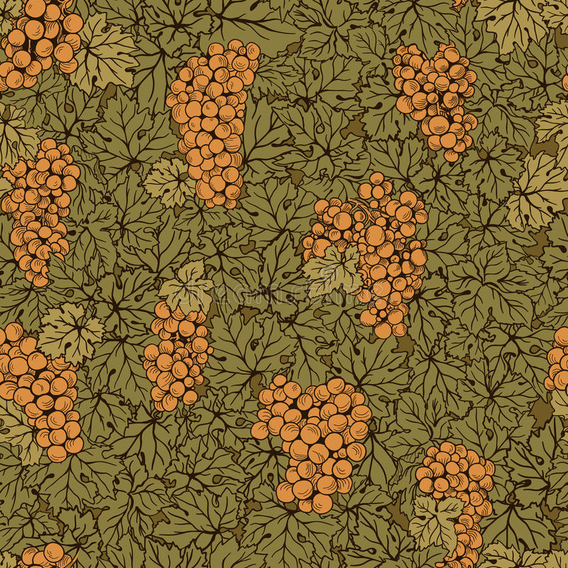 Hand drawn seamless pattern grape background. Green leaves, orange bunches. Food and drinks stock illustration