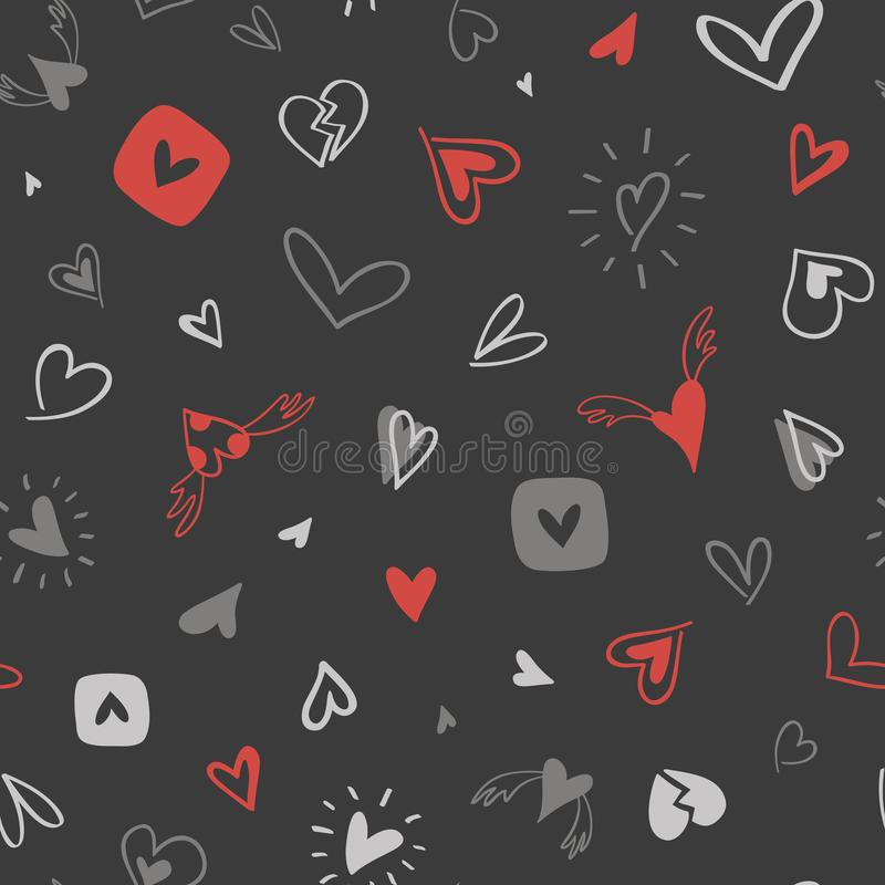 Hand-drawn seamless pattern with gray-red hearts stock illustration