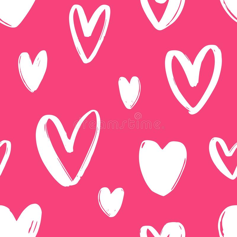 Hand drawn seamless pattern with hearts on bright pink background. Festive backdrop with love, passion and romance stock illustration
