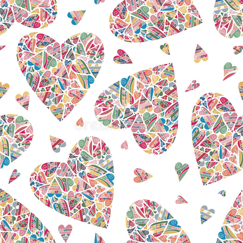 Hand drawn seamless pattern with hearts. stock illustration