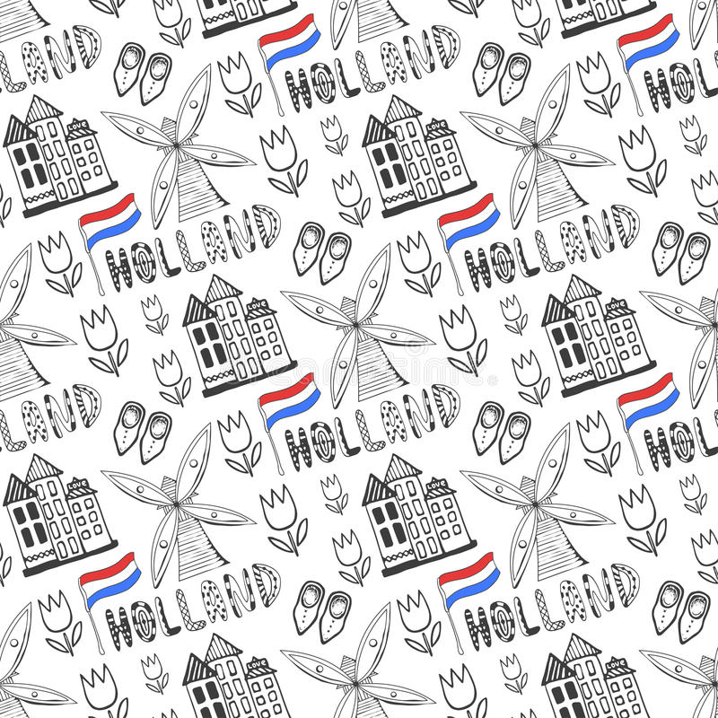 Hand drawn seamless pattern with Holland culture elements. Netherlands background for design. Vector illustration. Hand drawn seamless pattern with Holland royalty free illustration