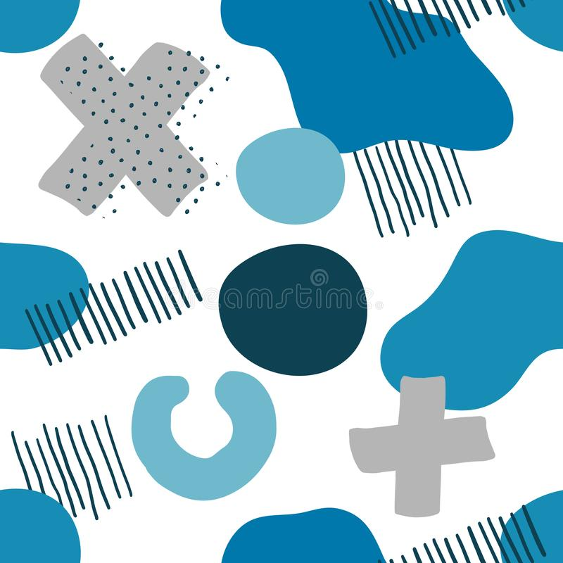 Seamless Pattern Memphis Blue and Grey Elements royalty free stock photos
