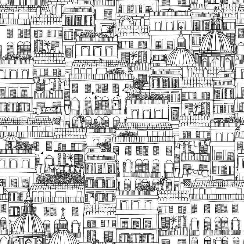 Hand drawn seamless pattern of Italian style houses stock illustration