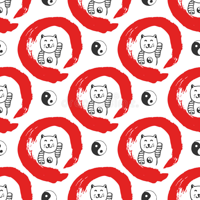 Hand drawn seamless pattern with Japan fortune maneki-neko cats. Yin yang background for design. Red zen circle hand-drawn with in stock illustration