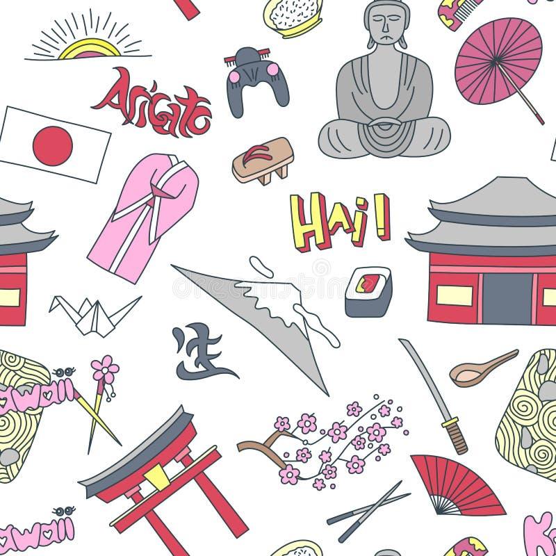 Hand drawn seamless pattern with Japan symbols - Kimono sakura flag buddha rice sushi stone garden rice origami geisha stock illustration