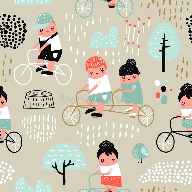Hand Drawn Seamless Pattern with Kids on Bicycle. Creative Childish Background with Boys and Girls on Bikes for Fabric royalty free illustration