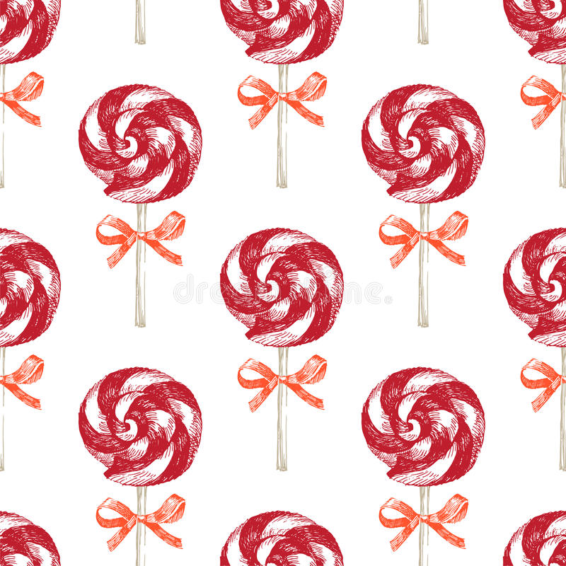 Hand drawn seamless pattern. With lollipops vector illustration