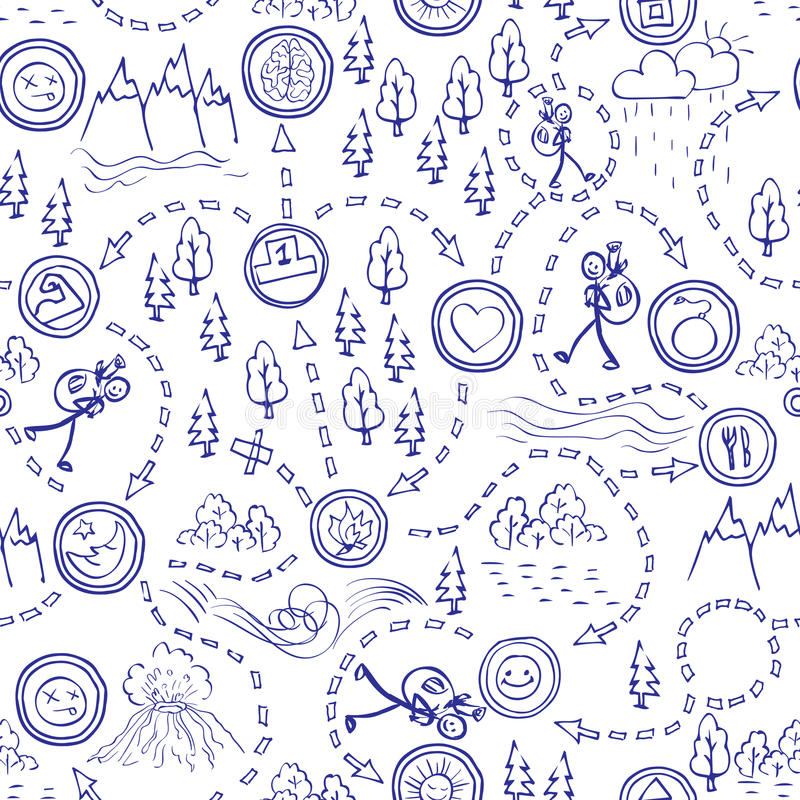 Hand drawn seamless pattern, maps, picnic, travel, hiking and camping. vector illustration